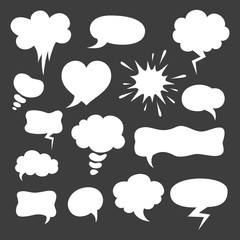 Set of cartoon speech bubbles on the black background.