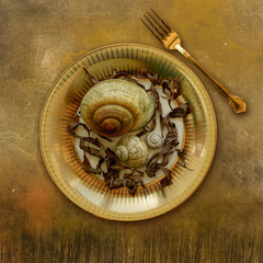 Place setting, plate with snails and leaves