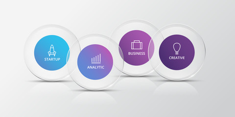 Infographics with glass circles