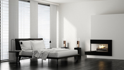 Großes Bett in Schlafzimmer mit Kamin