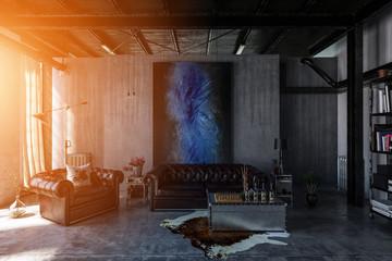 Beton Loft mit alter Leder Couch