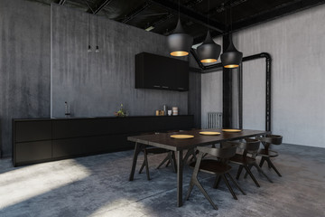 Kitchen with dining room in loft style flat