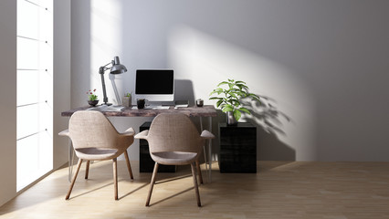 Computer workstation with two chairs