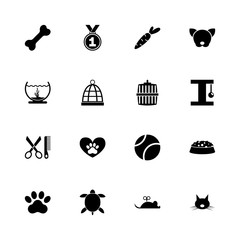 Pet icons - Expand to any size - Change to any colour. Flat Vector Icons - Black Illustration on White Background.