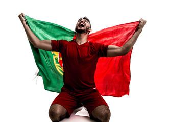 Portuguese athlete / fan celebrating on white background