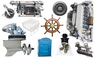 Isolated equipment and parts of modern yacht