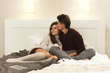 Young couple wearing warm sweaters