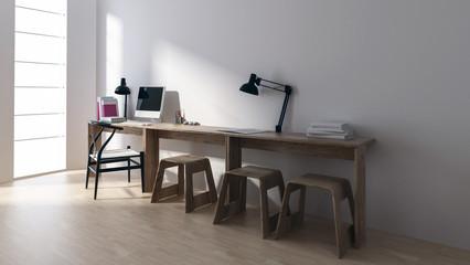 Minimalistischer Schreibtisch in Zimmer