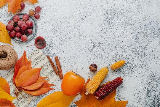 Frame of autumn decorations on white stone background