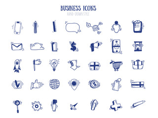 Business doodle marketing set in free style. Blue pen outline icons for presentation. Success collection for banner