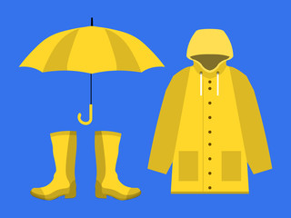 raincoat, rubber boots, open umbrella, set of rainy season in flat on blue background design vector eps