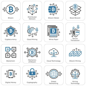 Bitcoin and Blockchain Cryptocurrency Icons.