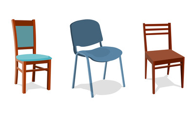 illustration set of different chairs for home and office. object realistic design . Isolated on white background. 3d Vector illustration eps10
