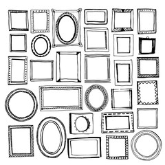 Hand drawn frames big set. Cartoon style. Vector. Round, squared and oval frames with decorative elements and simple.