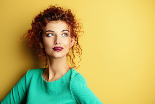 lady over yellow background