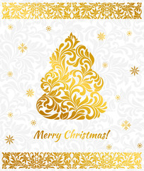 Vector elegant Greeting card with golden Christmas tree from abstract flower ornament. Background gray delicate pattern