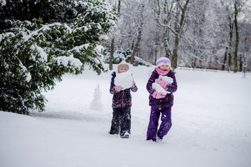 having fun in winter park full of snow