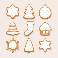 Set Christmas gingerbread with glaze: gingerbread house, snowflake, sock, Christmas tree, bell, star, new year's ball on light background. Vector illustration