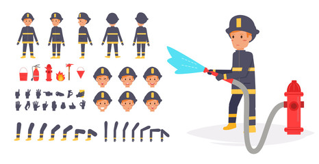 Fireman for animation. Poses front,