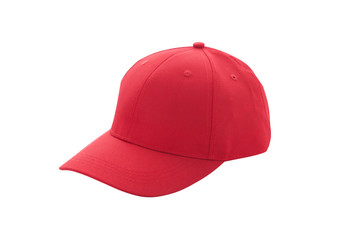 Baseball cap red templates, front views isolated on white background