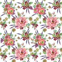 flowers seamless pattern. watercolor floral composition for congratulations