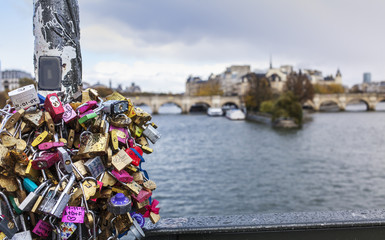 locks on  bridge in Paris