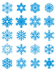 Set of different white snowflakes on a colored  background