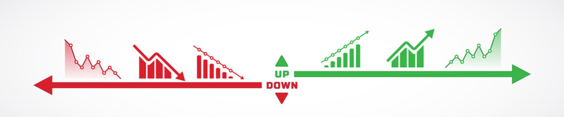 Horizontal design of charts icons going up and down