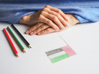 UAE National Day celebration decorative item. Colored pencils to color the flag of the country.