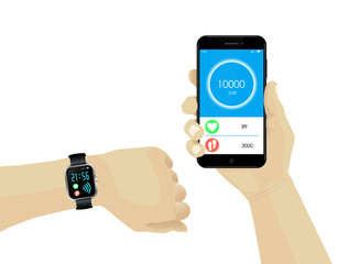 Fitness bracelet smartwatch and hand holding smartphone with infographics on pulse, calories and steps.