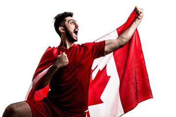 Canadian athlete / fan celebrating on white background