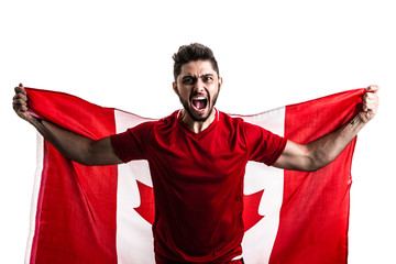 Canadian athlete / fan celebrating on white background