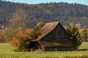 Old wooden barn in the German countryside