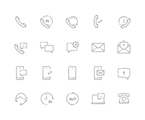Simple set of Contacts related vector line web icons. Contains such Icons as Call us, Message, Chat and more. Editable Stroke. 48x48 Pixel Perfect.