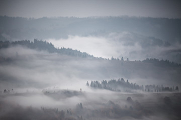 Autumn rain and mist in mountains. Morning fog over hills and forest.