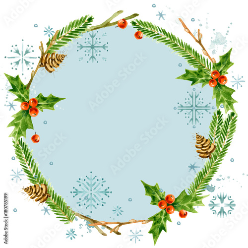 Christmas Wreath Frame Watercolor Winter Holidays Background