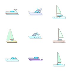 Water transport icons set, cartoon style
