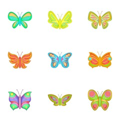 Brightly colored butterfly icons set cartoon style