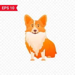Cute corgi sits on an isolated layer. Illustration for children's t-shirts. The dog is a symbol of 2018