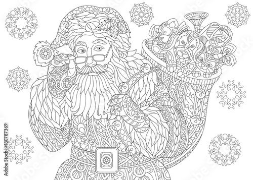 Coloring Page Of Santa Claus With Full Bag Holiday Gifts Christmas Vintage Snowflakes