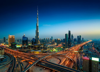 Photo sur Plexiglas Dubai Amazing night dubai downtown skyline, Dubai, United Arab Emirates