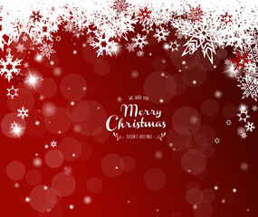 Christmas red background with white snowflakes.