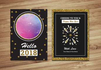 New Year Greeting Card with Gold Glitter Accents