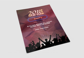 New Year's Eve Party Invitation Flyer with Dance Crowd Graphic
