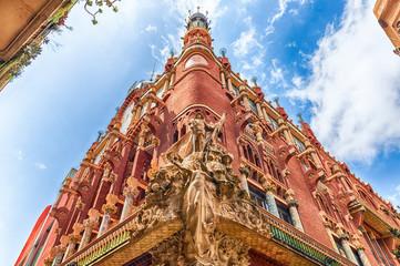 Sculptures of Palau de la Musica Catalana, Barcelona, Catalonia, Spain