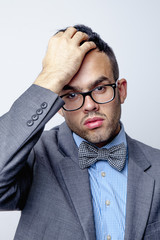 Conceived businessman in finding a solution to the problem