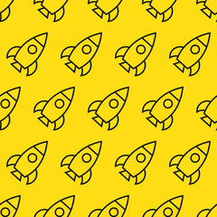 Rockets in space seamless pattern