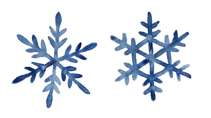 Set of two dark blue watercolor snowflakes illustration. Holiday traditional decoration, sign of winter, cold weather, symbol of unique beauty. Hand painted drawing, isolated on white background.