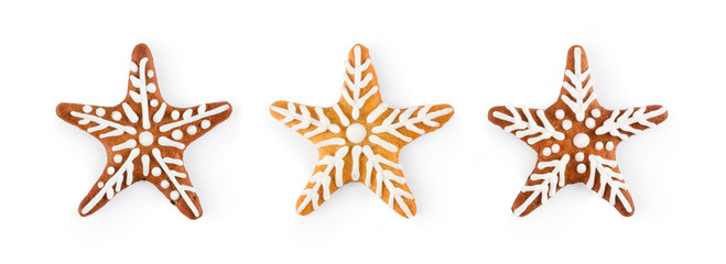 Set of Christmas gingerbread - sweet cookies in the form of star, isolated on white background