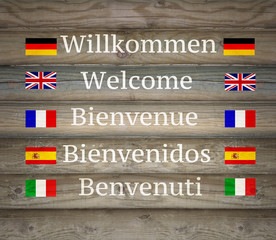 Welcome in five languages on the Signboard